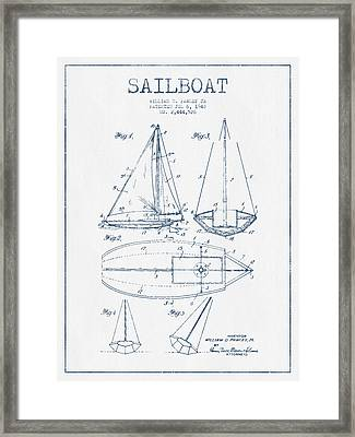 Sailboat Patent Drawing From 1948  -  Blue Ink Framed Print