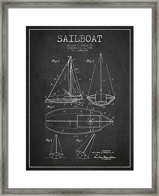 Sailboat Patent Drawing From 1948 Framed Print by Aged Pixel