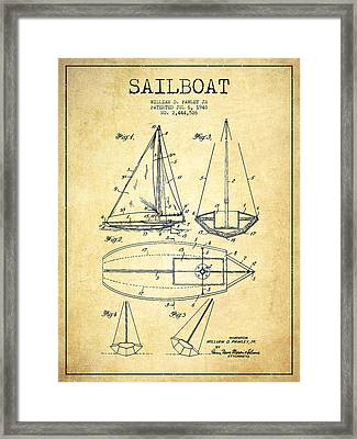 Sailboat Patent Drawing From 1948 - Vintage Framed Print