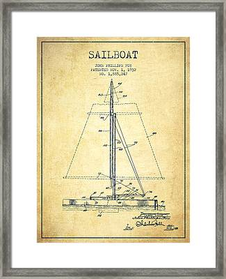 Sailboat Patent From 1932 - Vintage Framed Print by Aged Pixel