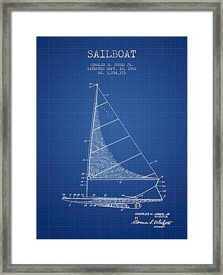Sailboat Patent From 1962 - Blueprint Framed Print by Aged Pixel