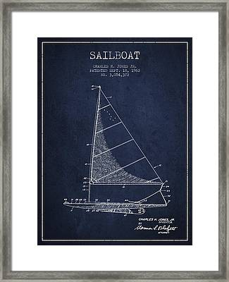Sailboat Patent From 1962 - Navy Blue Framed Print by Aged Pixel