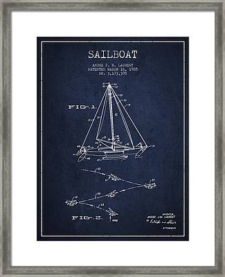 Sailboat Patent From 1965 - Navy Blue Framed Print by Aged Pixel