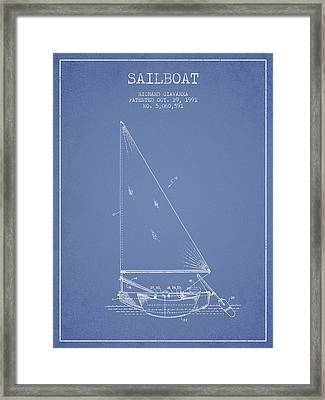 Sailboat Patent From 1991- Light Blue Framed Print by Aged Pixel