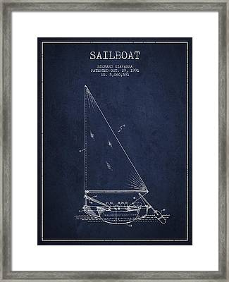 Sailboat Patent From 1991- Navy Blue Framed Print
