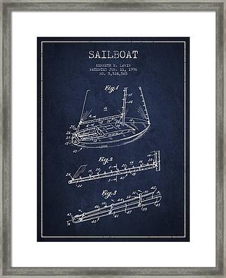 Sailboat Patent From 1996 - Navy Blue Framed Print