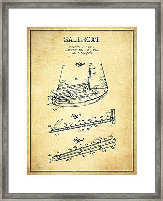 Sailboat Patent From 1996 - Vintage Framed Print by Aged Pixel