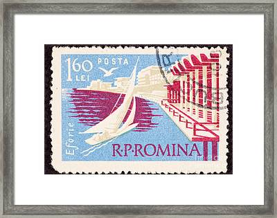Sailboat Sailing Black Sea In Eforie Romania Framed Print by Jim Pruitt