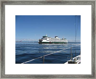 Sailboat Sees Ferryboat Framed Print by Kym Backland
