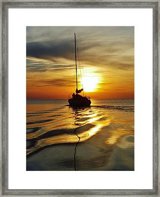 Sailboat Sunset 2 Pamlico Sound 2 4/24 Framed Print by Mark Lemmon
