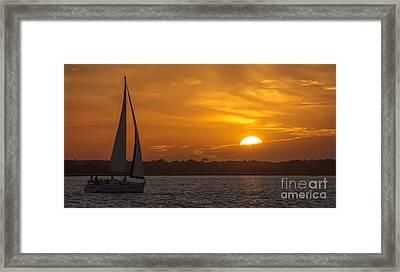 Sailboat Sunset  Framed Print by Dustin K Ryan