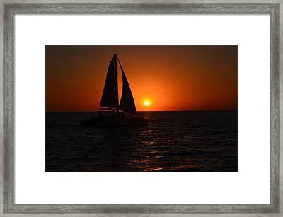 Sailboat Sunset Framed Print by James Petersen