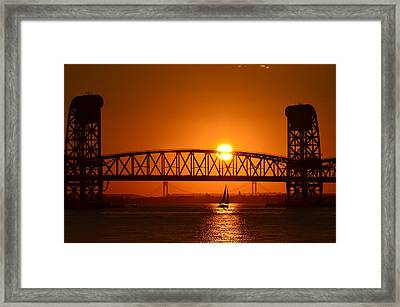 Sailboat Under Marine Park Bridge Framed Print