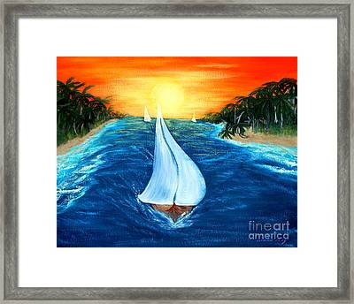 Framed Print featuring the painting Sailboats 2 by Oksana Semenchenko