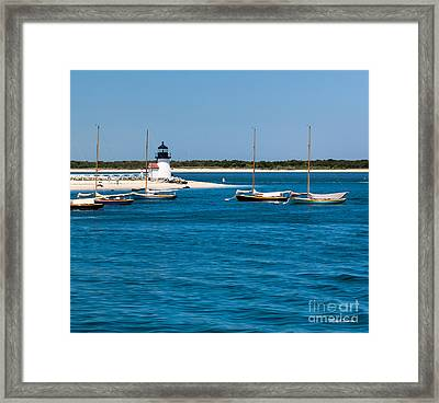 Sailboats And Brant Point Lighthouse Nantucket Framed Print