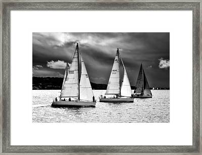 Sailboats And Storms Framed Print
