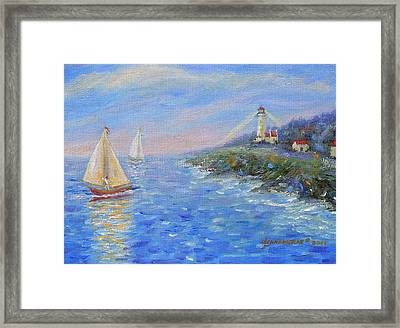 Sailboats At Heceta Head Lighthouse Framed Print by Glenna McRae