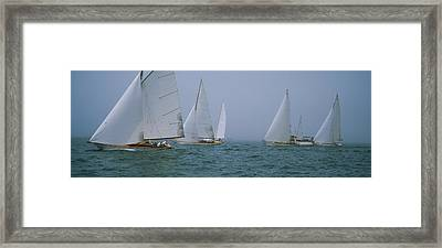 Sailboats At Regatta, Newport, Rhode Framed Print