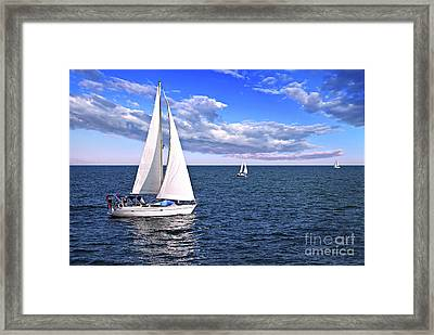 Sailboats At Sea Framed Print