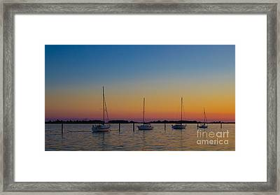 Sailboats At Sunset Clinton Connecticut Framed Print by Edward Fielding