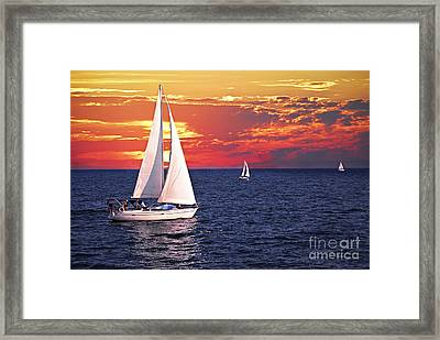 Sailboats At Sunset Framed Print by Elena Elisseeva