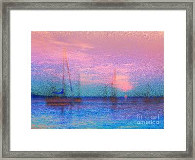 Sailboats At Sunset Framed Print by Jeff Breiman