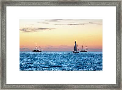 Sailboats At Sunset Off Key West Florida Framed Print