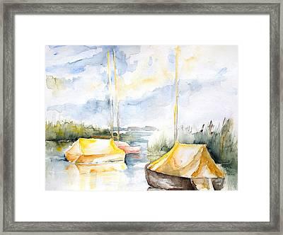 Sailboats Awakening Framed Print by Barbara Pommerenke