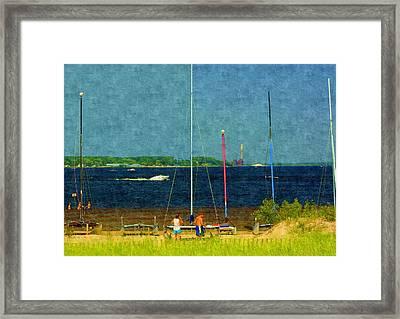 Sailboats Beached Framed Print by Rosemarie E Seppala