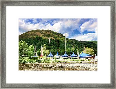 Sailboats Covered And Beached At Glenridding Framed Print