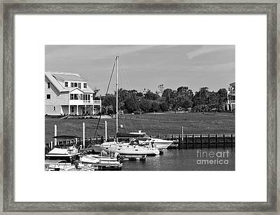 Sailboats Docked At North Myrtle Beach Mono Framed Print by John Rizzuto