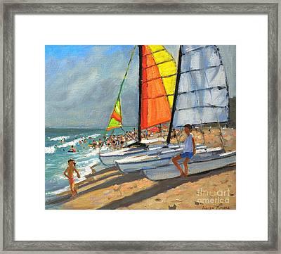 Sailboats Garrucha Spain  Framed Print by Andrew Macara