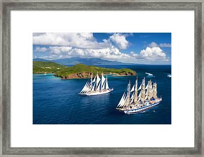 Sailboats In Paradise. Framed Print
