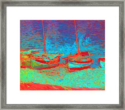 Sailboats In Port Collioure IIi Painted Framed Print by Henri Martin - L Brown