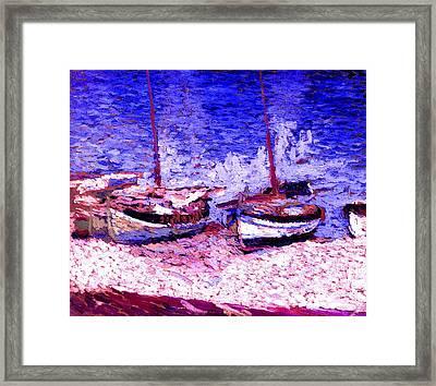 Sailboats In Port Collioure Ix Framed Print by Henri Martin - L Brown