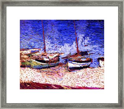 Sailboats In Port Collioure Vii Framed Print by Henri Martin - L Brown