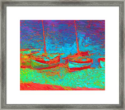 Sailboats In  Port Collioure Xi Framed Print by Henri Martin - L Brown