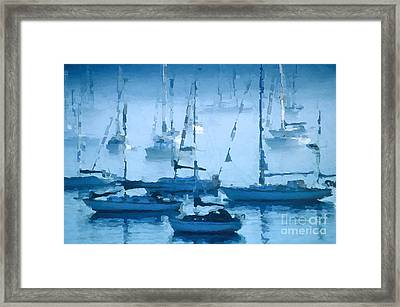 Sailboats In The Fog II Framed Print