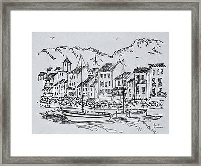 Sailboats In The Harbor, Cassis, France Framed Print