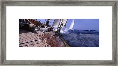 Sailboats In The Sea, Antigua, Antigua Framed Print