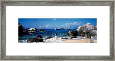 Sailboats In The Sea, The Baths, Virgin Framed Print by Panoramic Images