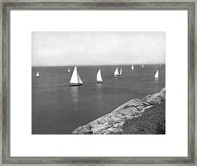 Sailboats On A Calm Day. Framed Print by Underwood Archives