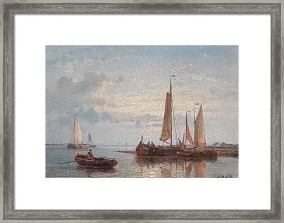 Sailboats On Calm Lake Framed Print