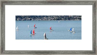 Sailboats On San Francisco Bay Framed Print by Panoramic Images