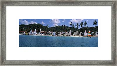 Sailboats On The Beach, Grenada Sailing Framed Print by Panoramic Images