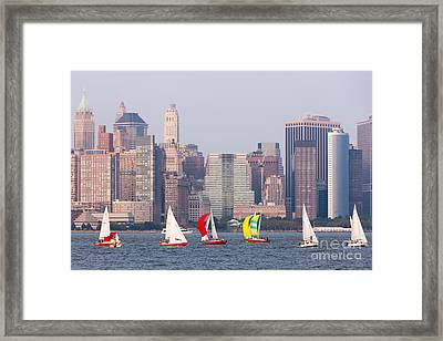 Sailboats On The Hudson I Framed Print by Clarence Holmes