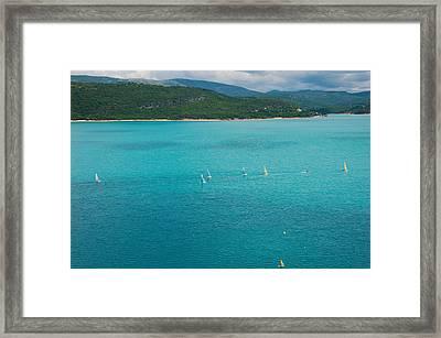 Sailboats On The Lake, Lac De Sainte Framed Print
