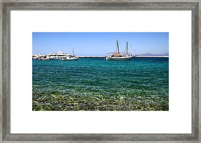 Sailboats On The Water Framed Print by Corinne Rhode