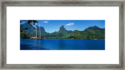 Sailboats Sailing In The Ocean, Opunohu Framed Print by Panoramic Images