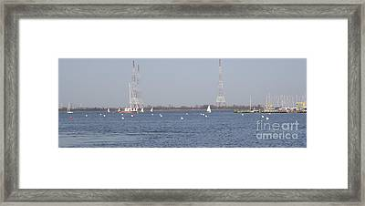 Framed Print featuring the photograph Sailboats With Chesapeake Bay Bridge Beyond by Christina Verdgeline